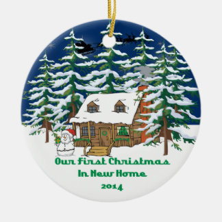 2014 New Home Christmas Cabin Ceramic Ornament