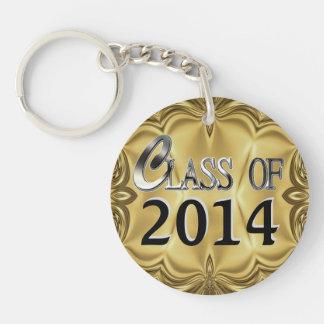 2014 ou tous porte - clés argentés de classe d'or porte-clé rond en acrylique double face