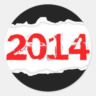 2014 (torn paper) round sticker