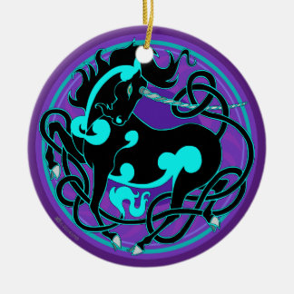2014 Unicorn Ceramic Ornament - Black/Turquoise