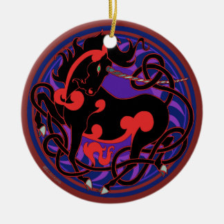 2014 Unicorn Ceramic Ornament- Red/Black Ceramic Ornament