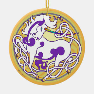 2014 Unicorn Ceramic Ornament - White/Purple/Yello