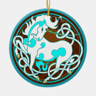 2014 Unicorn Ceramic Ornament - White/Turquoise