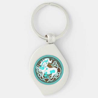 2014 Unicorn Keychain - White/Turquoise