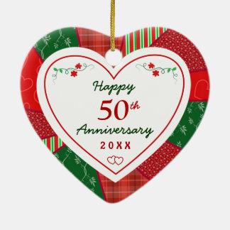2015 50th Anniversary Christmas Holiday Ceramic Heart Ornament