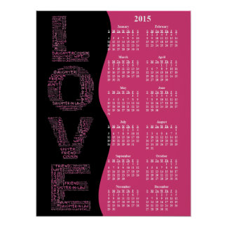 2015: A Year of Love Yearly Wall Calendar Poster
