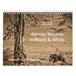2015 African Wildlife in Black Wall Calendar