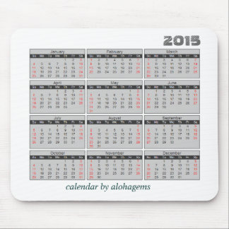 2015 Calendar Mouse pad Simple Gray