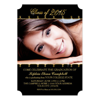 2015 Elegant Faux Glitter Swirl Graduation Photo Card