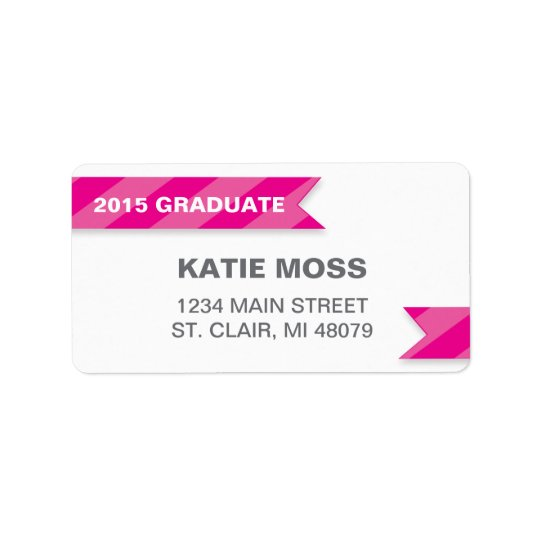 2015 Graduation Address Label  | Pink