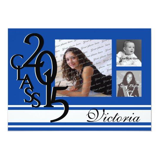 2015 Graduation Blue Tri Photo Card
