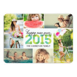 """2015 Mod New Year Photo Collage Holiday Card 5"""" X 7"""" Invitation Card"""