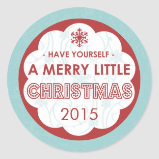 2015 Modern Blue Merry Little Christmas Classic Round Sticker
