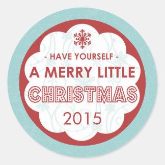 2015 Modern Blue Merry Little Christmas Round Sticker