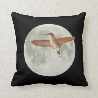 2015 Super Moon with Humming bird Throw Pillow