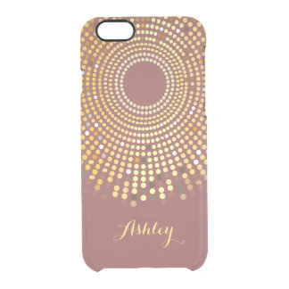 2015 Trendy Marsala Wine Red and Gold Sparkle Dots Clear iPhone 6/6S Case