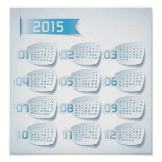 2015 Yearly Calendar Poster Custom Print