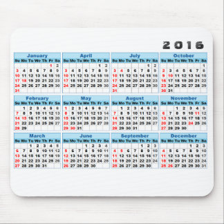 2016 Calendar Mouse pad Simple