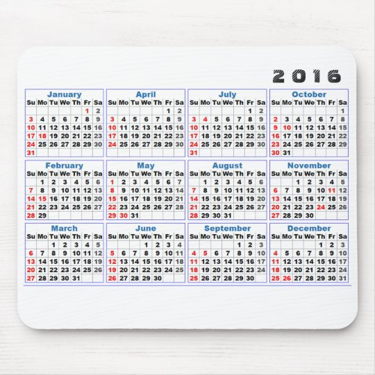 2016 Calendar Mousepad Simple Turquoise