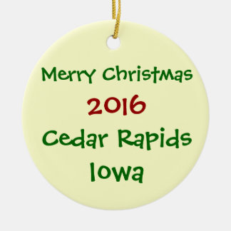 2016 CEDAR RAPIDS IOWA MERRY CHRISTMAS ORNAMENT