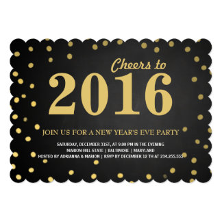 2016 Chalkboard Gold Confetti New Years Party Card