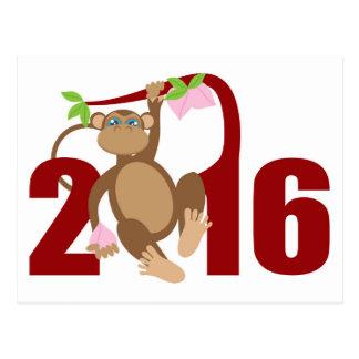 2016 Chinese Monkey on Tree with Longevity Fruits Postcard