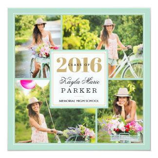 2016 Classy Photo Collage Graduation Invitation
