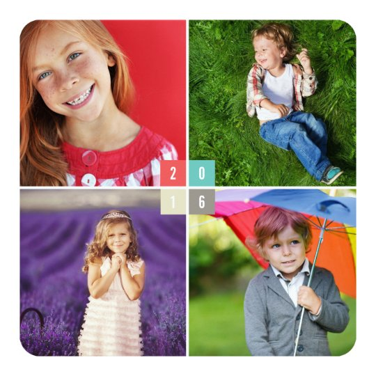 2016 Colour Blocks New Year Photo Collage Card