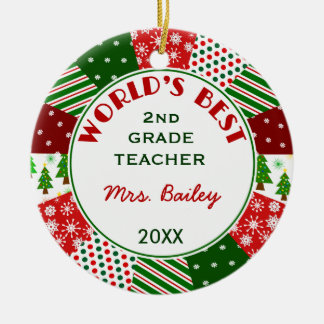 2016 For Favorite Teacher Customized Round Ceramic Ornament
