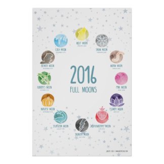 "2016 Full Moon Dates (""24x36"") Poster"
