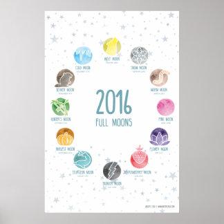 "2016 Full Moon Dates (""24x36"") Poster"