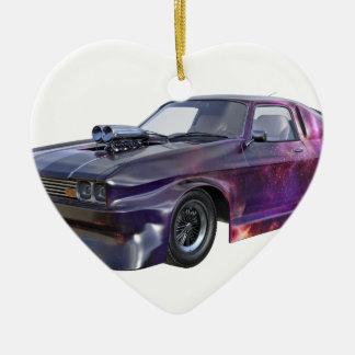 2016 Galaxy Purple Muscle Car Ceramic Heart Ornament