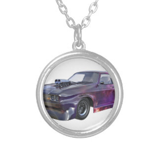 2016 Galaxy Purple Muscle Car Silver Plated Necklace
