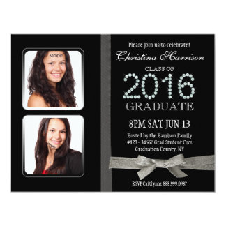 "2016 Glitter and Glam Graduation with Grad Photos 4.25"" X 5.5"" Invitation Card"