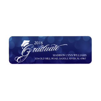 2016 Graduate Blue Bokeh Lights Graduation Return Address Label