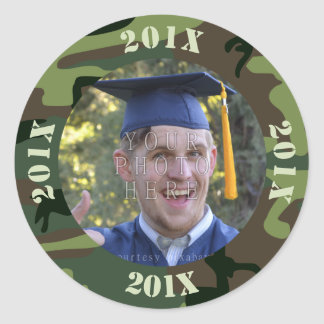 2016 Graduation Party Photo Camouflage | Camo Round Sticker