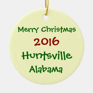 2016 HUNTSVILLE ALABAMA MERRY CHRISTMAS ORNAMENT
