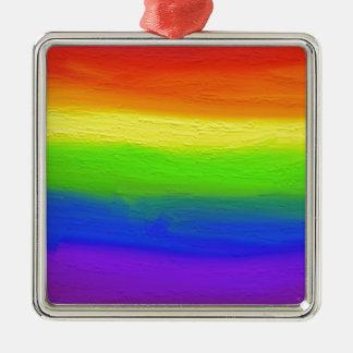 2016 LOVE = LOVE Rainbow Silver-Colored Square Ornament