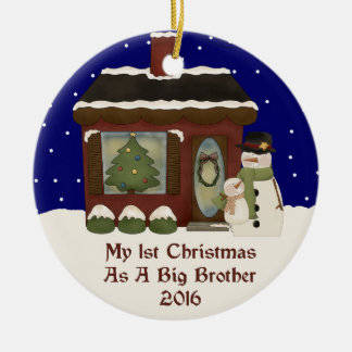 2016 My 1st Christmas As A Big Brother Round Ceramic Ornament