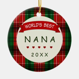 2016 Nana Holiday Plaid Christmas Gift Ornaments