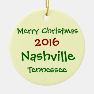 2016 Nashville Tennessee MERRY CHRISTMAS ORNAMENT