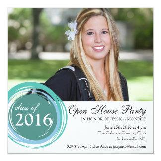 2016 Open House Graduation Invitation Blue Circles