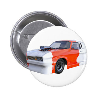 2016 Orange and White Muscle Car 2 Inch Round Button