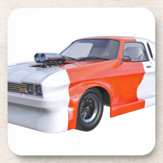 2016 Orange and White Muscle Car Beverage Coasters