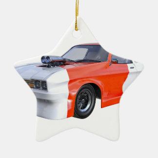 2016 Orange and White Muscle Car Ceramic Ornament