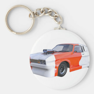 2016 Orange and White Muscle Car Keychain