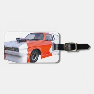 2016 Orange and White Muscle Car Luggage Tag