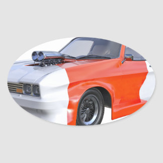 2016 Orange and White Muscle Car Oval Sticker