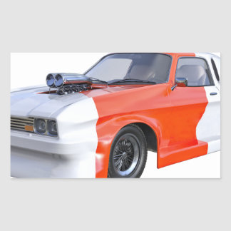 2016 Orange and White Muscle Car Sticker