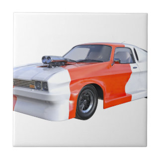 2016 Orange and White Muscle Car Tile